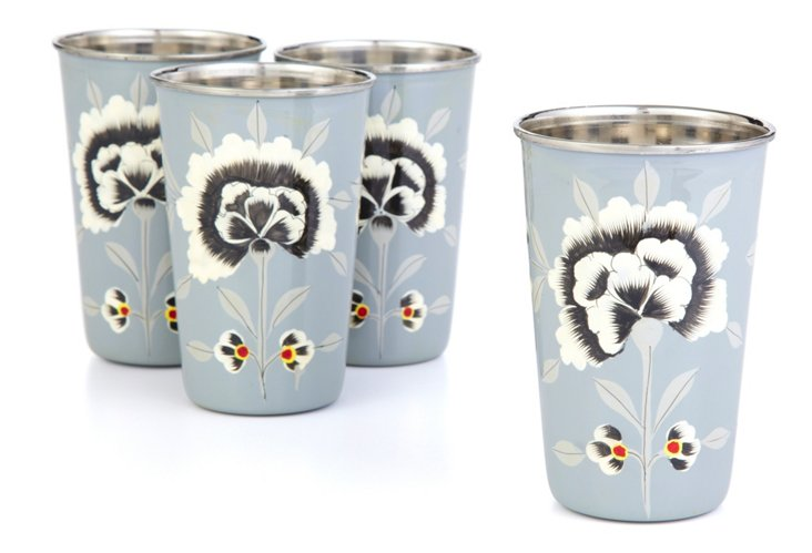 S/4 Fleur Floral Cups, Gray/Yellow