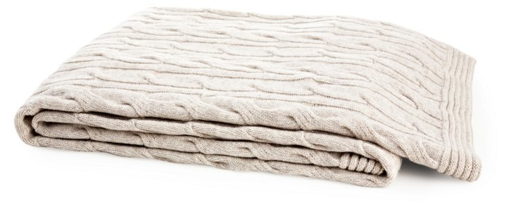 Cable-Knit Throw, Oatmeal