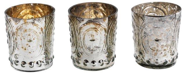 S/3 Silver Embossed Tea-Light Holders