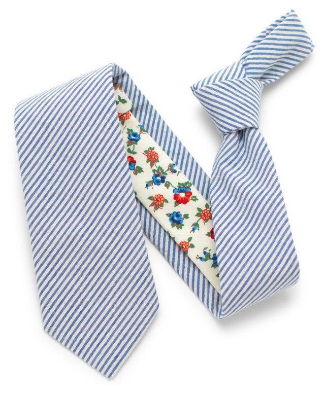 Vintage Seersucker Necktie, Blue