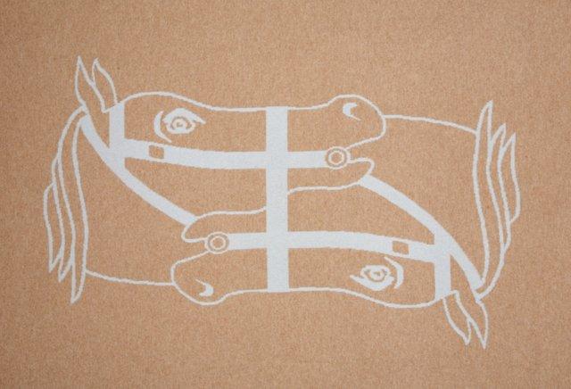 Reversible Horse Throw, Camel/Blue