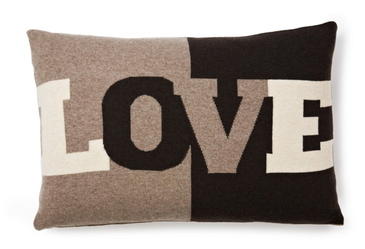 Love 16x24 Pillow, Chocolate/Taupe