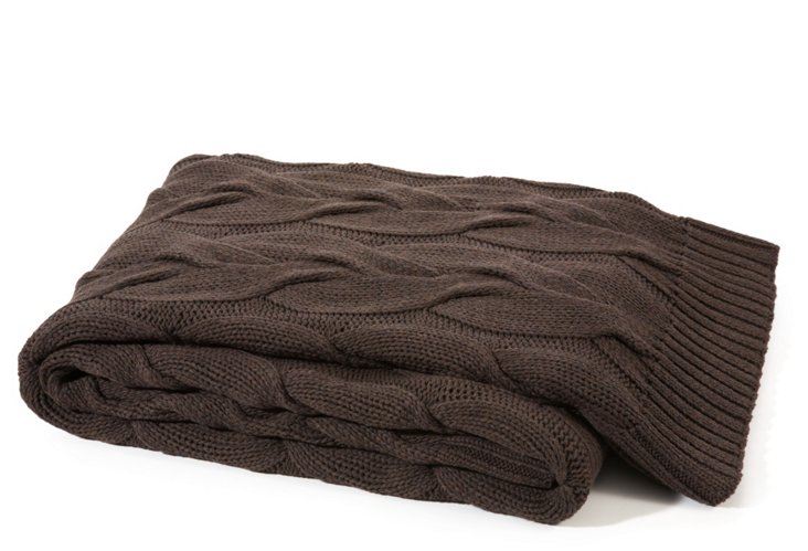 Twisted Cable Cotton Throw, Chocolate