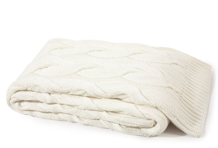 Twisted Cable Cotton Throw, Ivory
