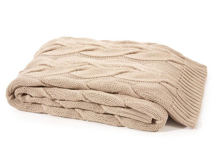 Twisted Cable Cotton Throw, Taupe