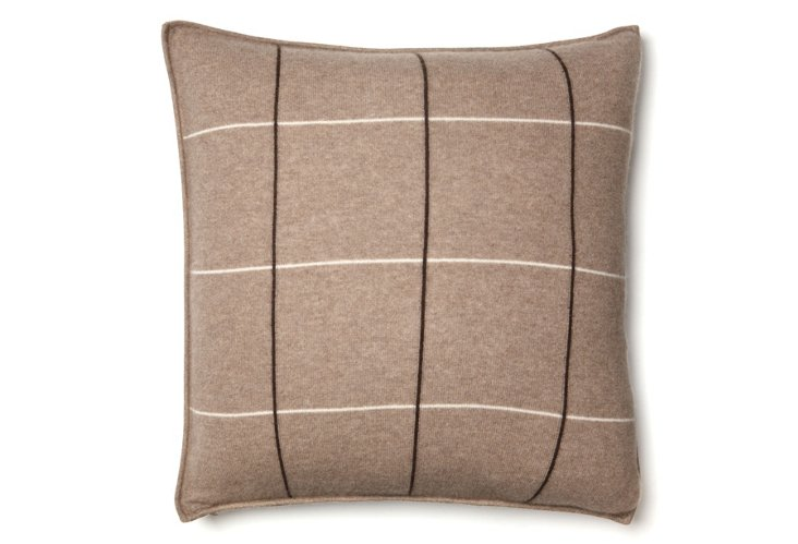 Plaid 21x21 Cashmere Pillow, Taupe