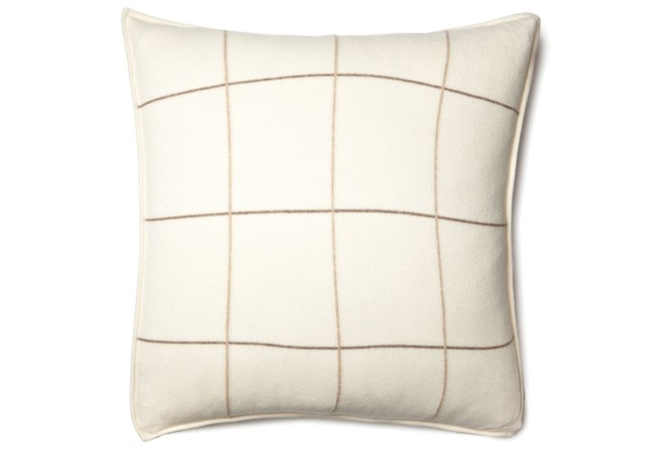 Plaid 21x21 Cashmere Pillow, Ivory/Camel