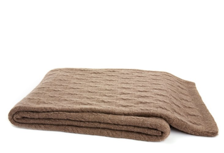 Rib-Knit Throw, Brown