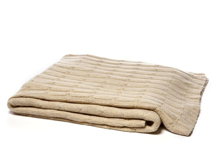 Cashmere Cable Throw, Tan
