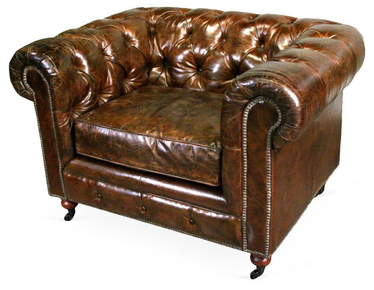 Cigar Chesterfield Leather Chair, Brown