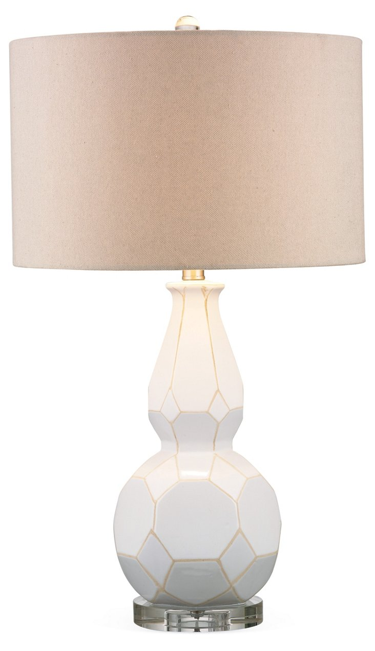 Geo Gourd Lamp Set, White