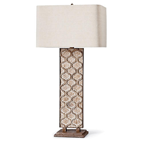 Carved Panel Table Lamp, Natural