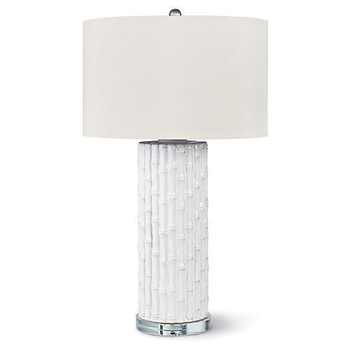 Ceramic Bamboo Table Lamp, White