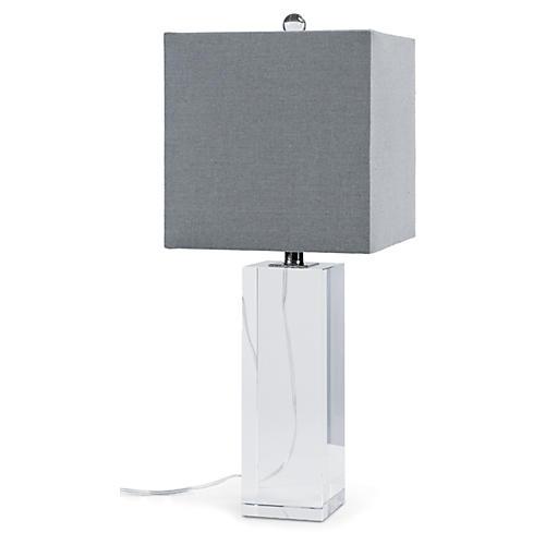 Crystal Block Table Lamp, Clear