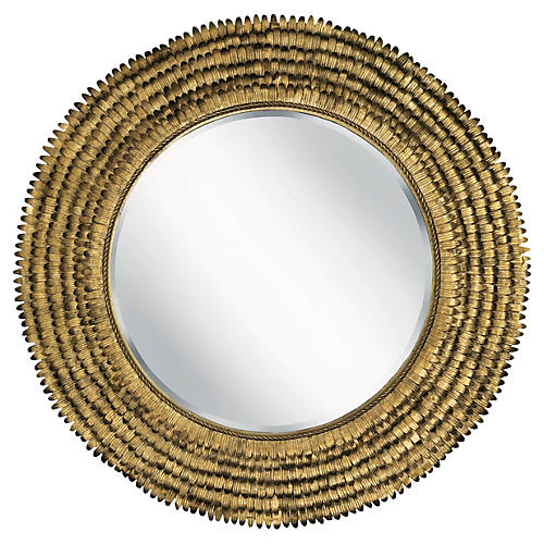 "32"" Petal Round Mirror, Gold Leaf"