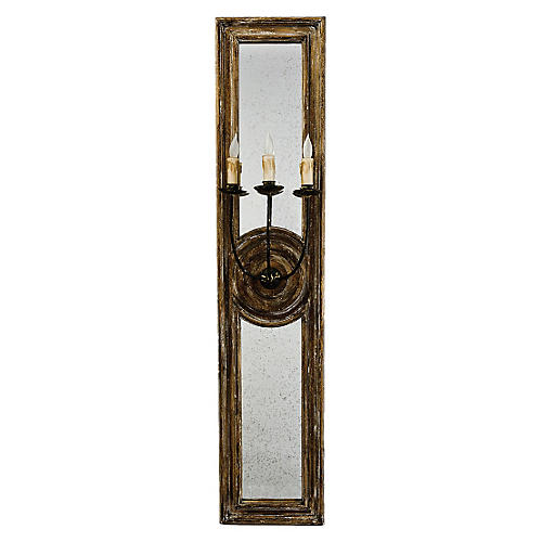 Three-arm Mirrored Sconce, Wood