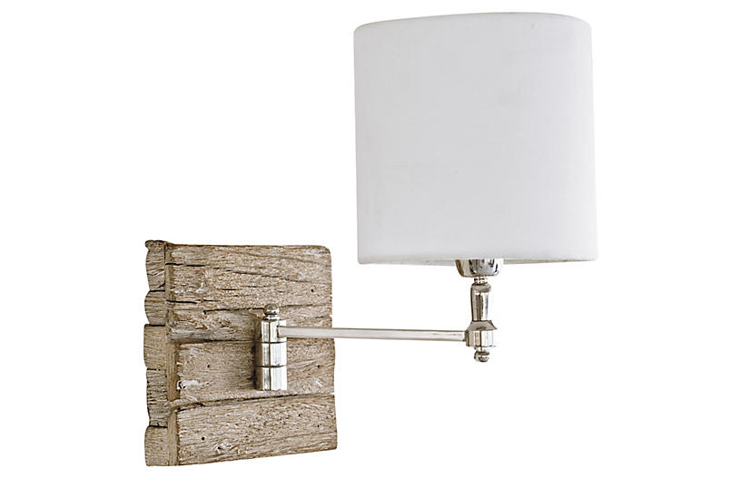 Swing-Arm Pinup Sconce, Wood
