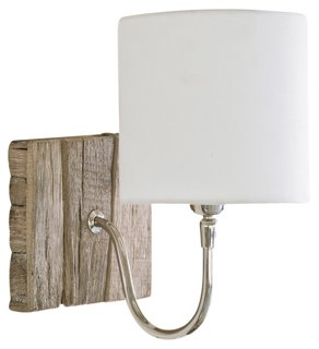 Bent Arm Pinup Sconce, Wood - Come be inspired by Get the Look: Warm White Living Room Design With Unfussy Sophisticated Style...certainly soothing indeed.