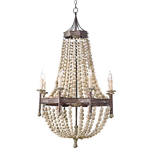 8-Light Scalloped Wood-Bead Chandelier
