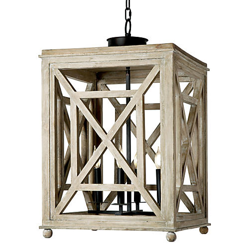 4-Light Lattice Chandelier, White