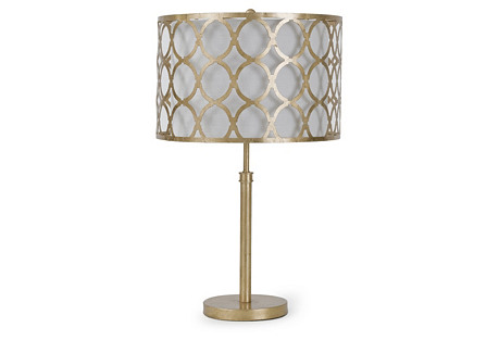 Metal Pattern Shaded Lamp, Gold