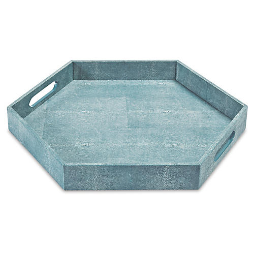 "23"" Shagreen-Style Tray, Turquoise"