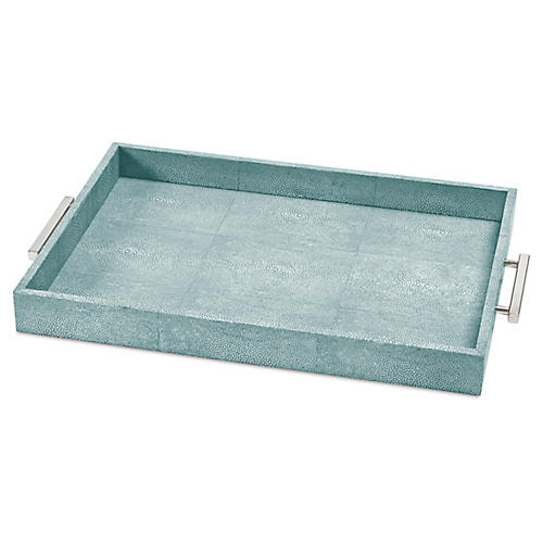 "22"" Shagreen-Style Tray, Turquoise"