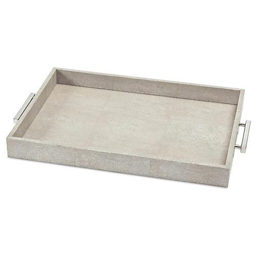 """22"""" Shagreen-Style Tray, Gray"""
