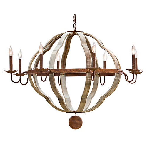 8-Light Quatrefoil Chandelier, Gold