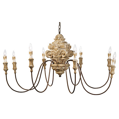 8-Light Wood Carved Chandelier, Gold