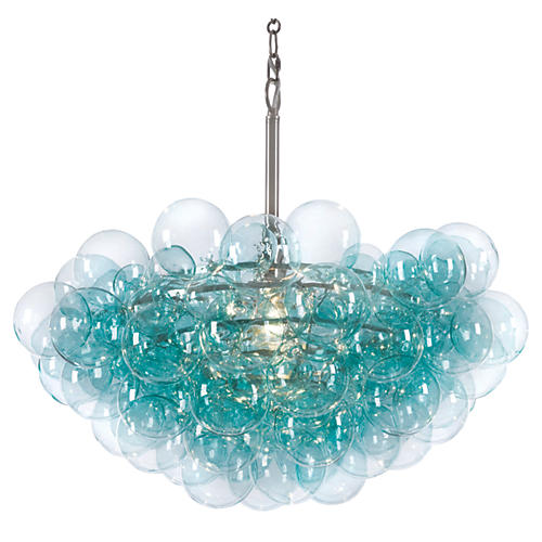 Bubbles Chandelier, Aqua/Clear