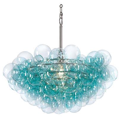Bubbles Chandelier, Aqua/Clear