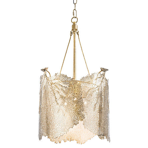 Large Sea Fan Chandelier, Brass