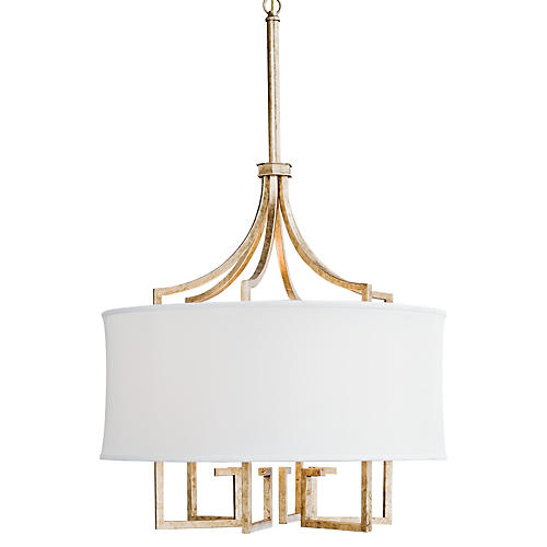 Le Chic Greek Key Chandelier, Gold