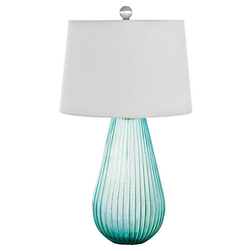 Spa Art Glass Table Lamp, Aqua