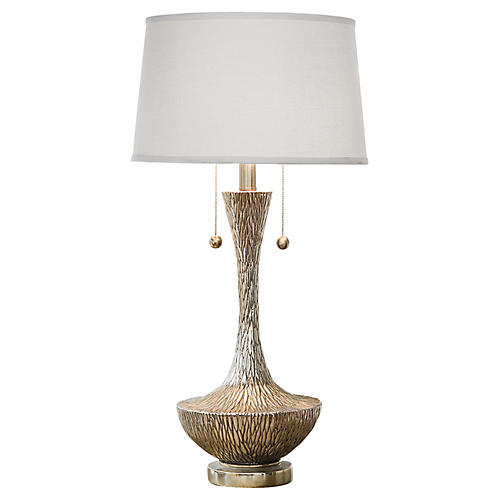 Embossed Table Lamp, Silver