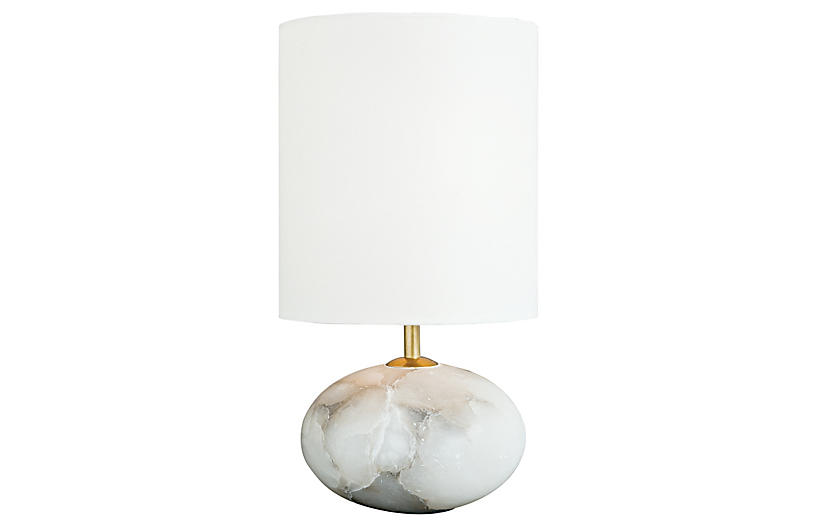 Alabaster Orb Table Lamp, White/Stone
