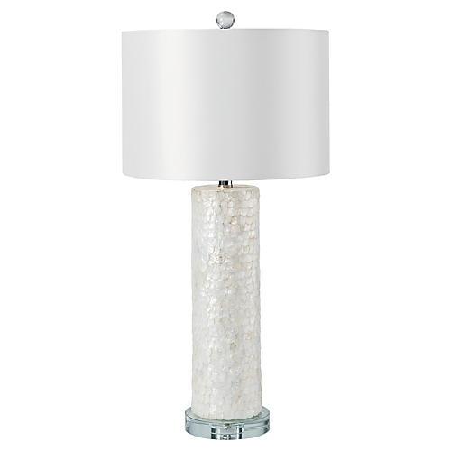 Scalloped Capiz Column Table Lamp, White