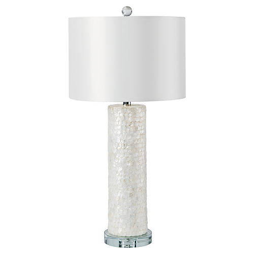 Scalloped Capiz Column Table Lamp, White