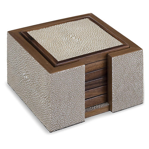S/6 Faux-Shagreen Coasters, Ivory