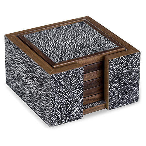 S/6 Faux-Shagreen Coasters, Charcoal
