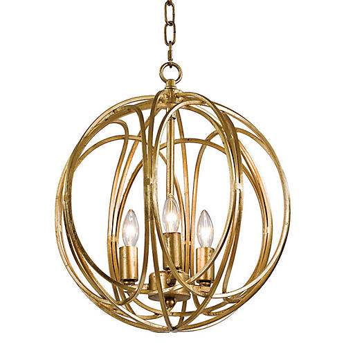 3-Bulb Gold Ofelia Chandelier, Medium