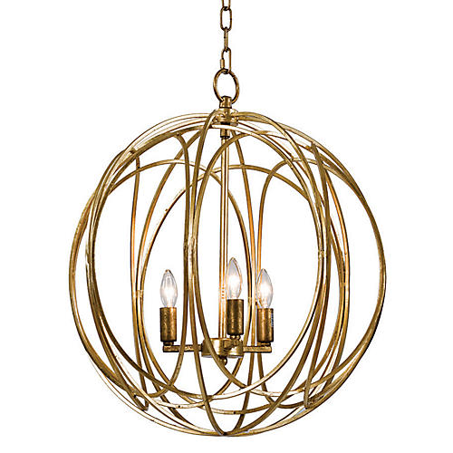 3-Bulb Gold Ofelia Chandelier, Large