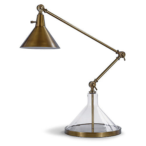 Glass Funnel Beaker Table Lamp, Brass