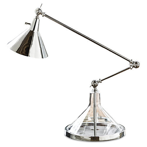 Glass Funnel Beaker Table Lamp, Nickel
