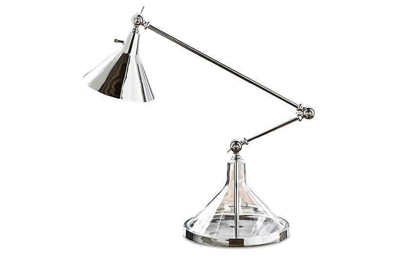 Glass Funnel Beaker Table Lamp, Nickel