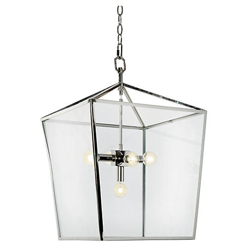 5-Bulb Camden Lantern, Polished Nickel
