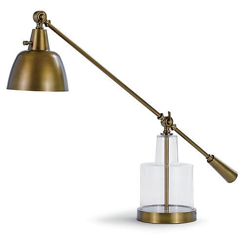 Glass Step Beaker Table Lamp, Brass