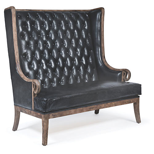 Tufted Settee, Antiqued Slate Leather