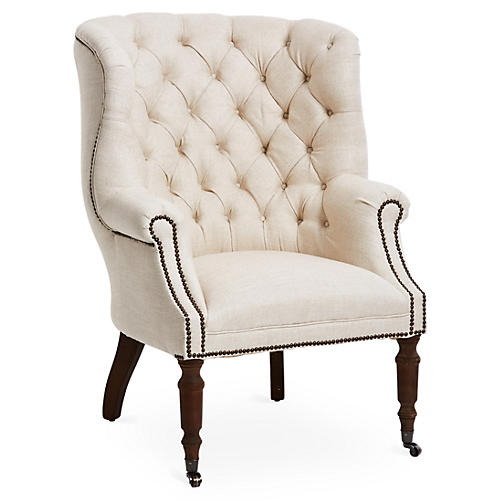 Clarissa Tufted Linen Club Chair, Ivory